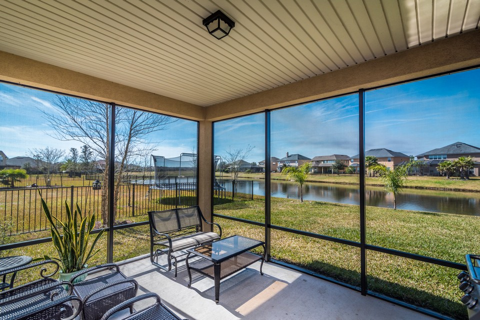 screened patio with water views !