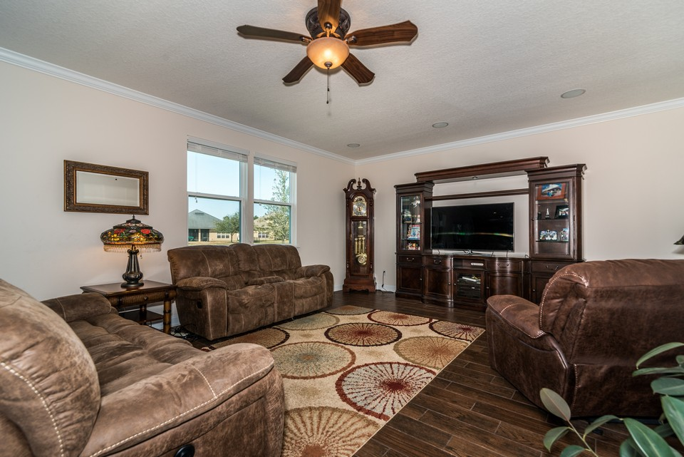 family room with open concept to kitchen